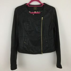 Anthropologie Idra Black Moto Leather Jacket
